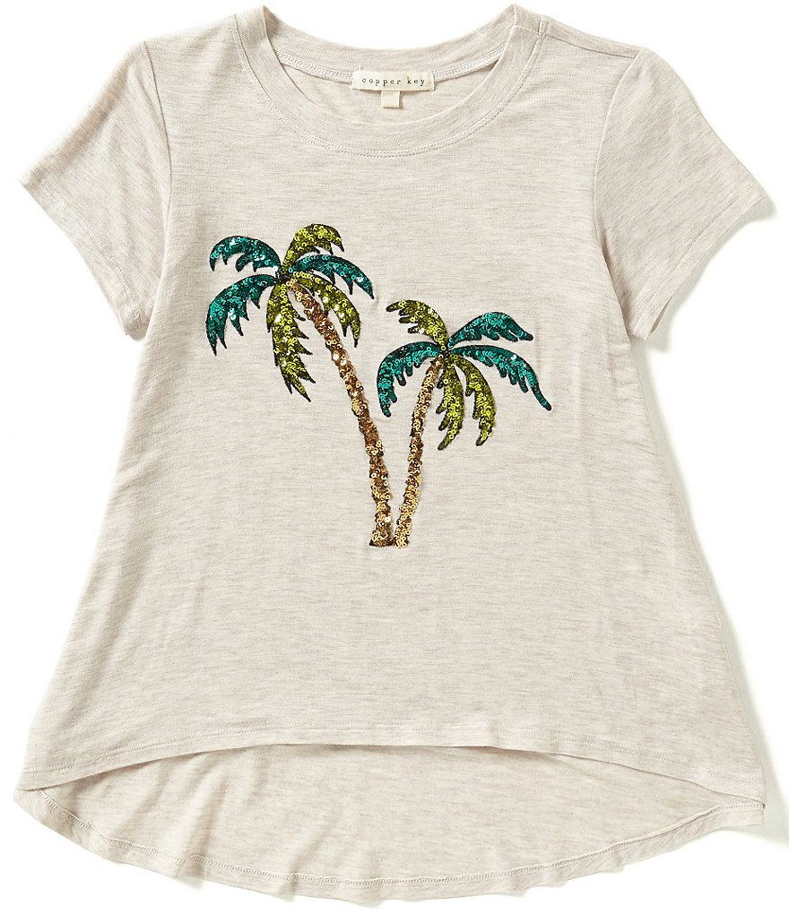 Copper Key Big Girls 7-16 Sequin Palm Tree High-Low Hem Tee