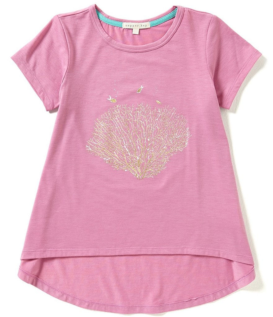 Copper Key Big Girls 7-16 Foiled Leaf Swing Tee