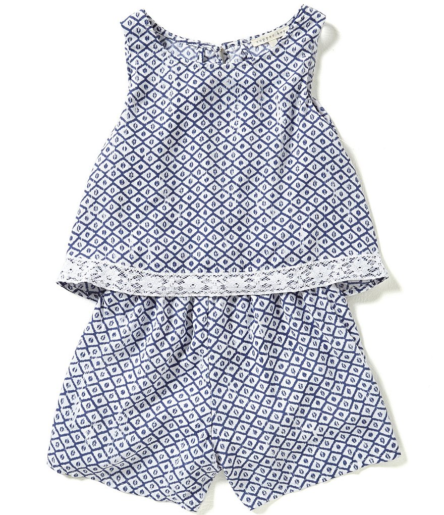 Copper Key Big Girls 7-16 Printed Popover Romper