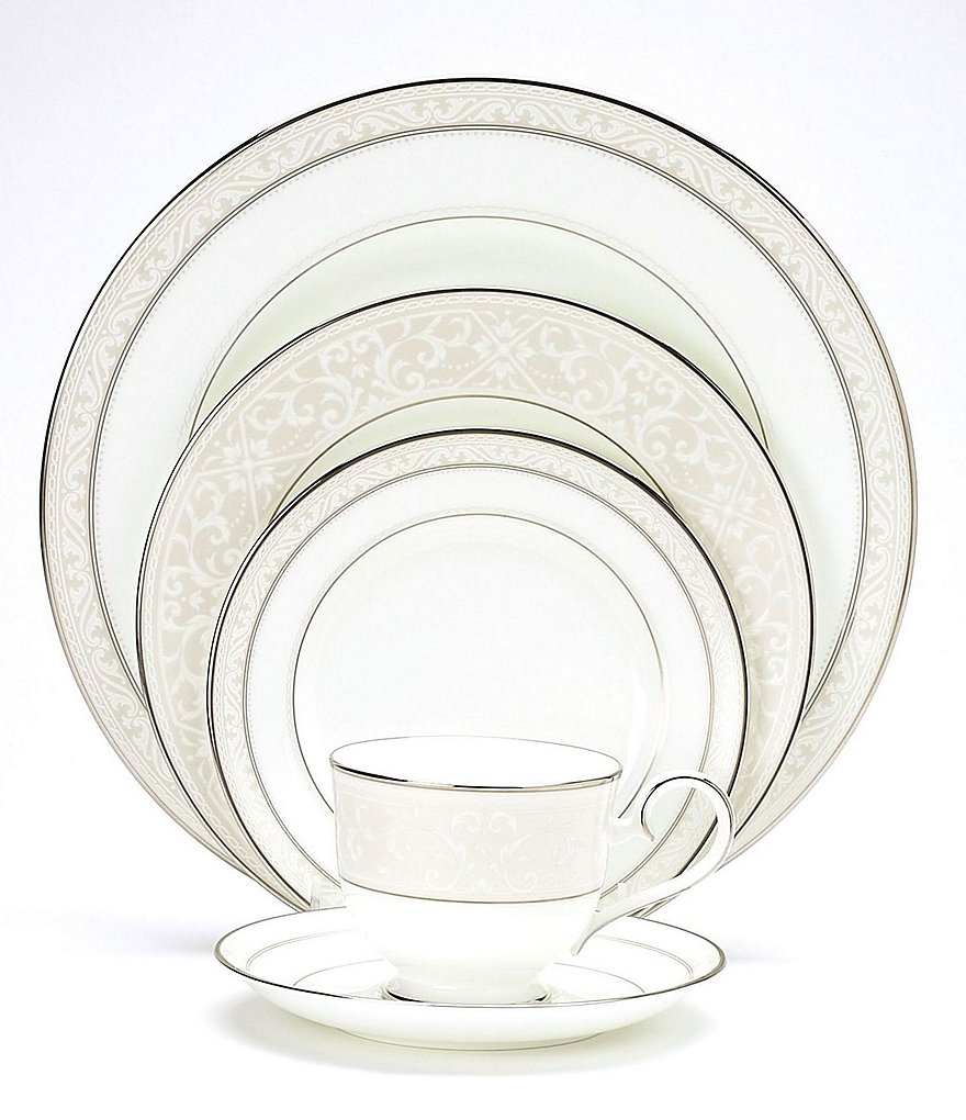 Noritake Montvale Platinum Scroll Bone China 5-Piece Setting