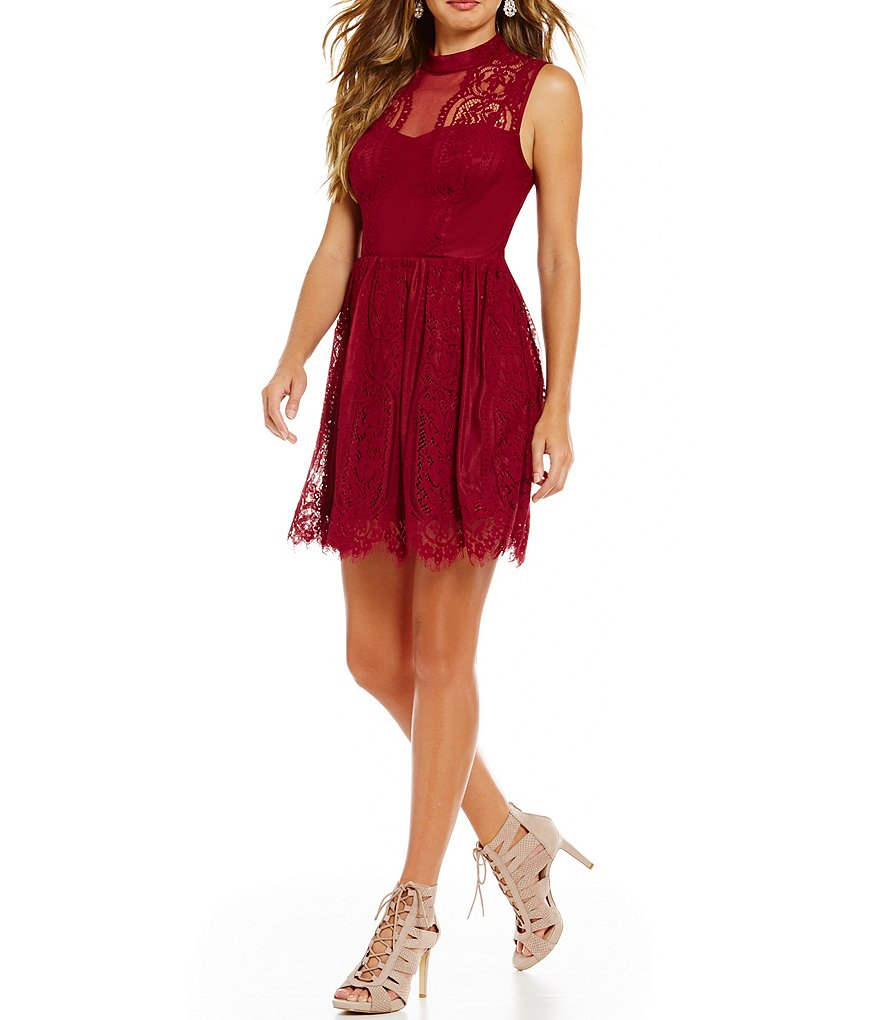 Jodi Kristopher Mock Neck Illusion-Yoke A-Line Lace Dress