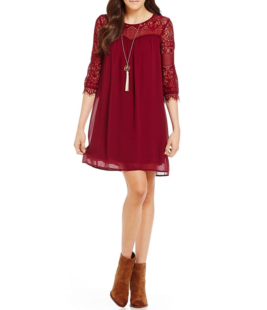 Xtraordinary Lace Illusion Inset Shift Dress