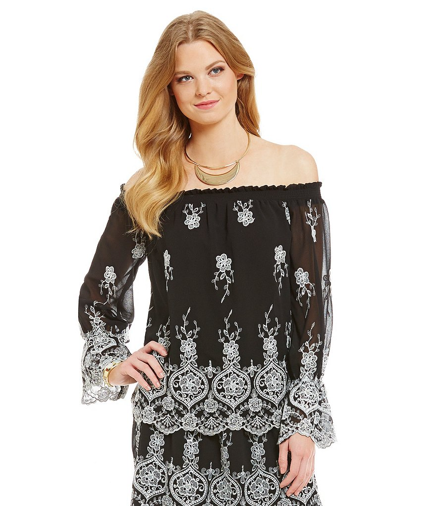 WAYF Lancaster Embroidered Off-the-Shoulder Top
