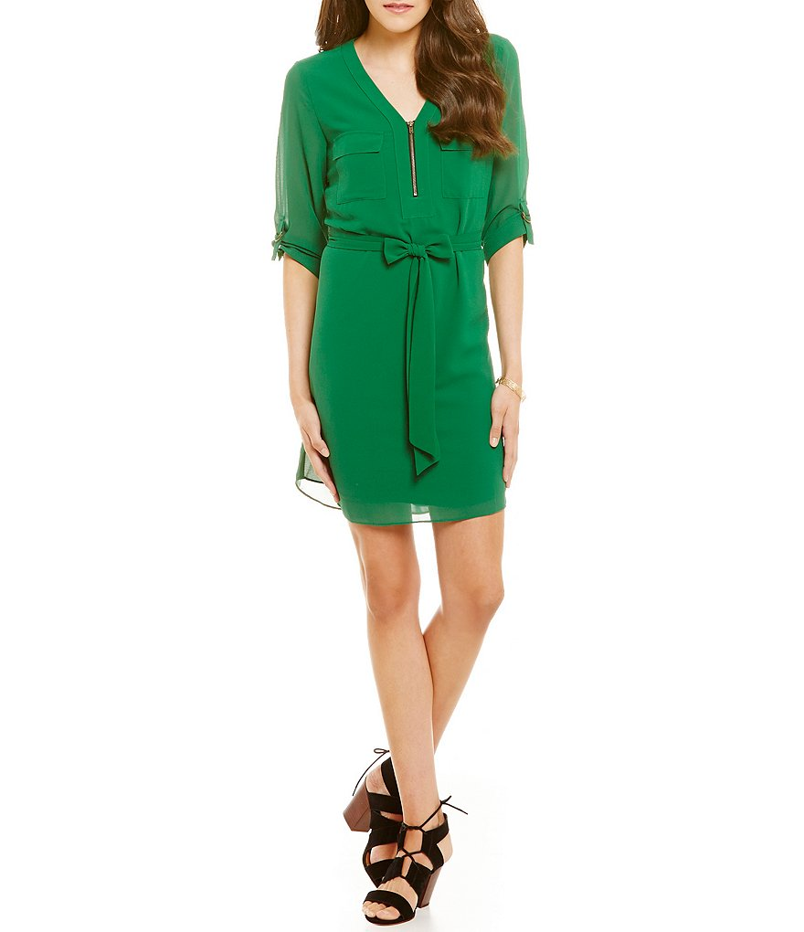 I.N. San Francisco Roll-Tab Sleeve Shift Dress