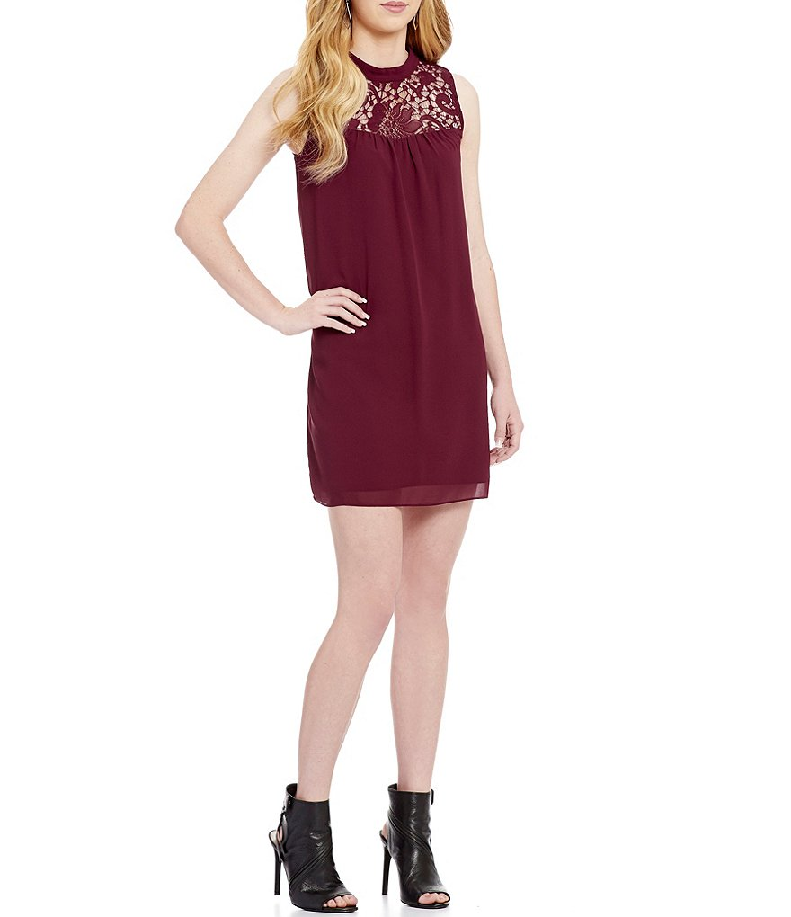 I.N. San Francisco Mock Neck Lace Yoke Shift Dress