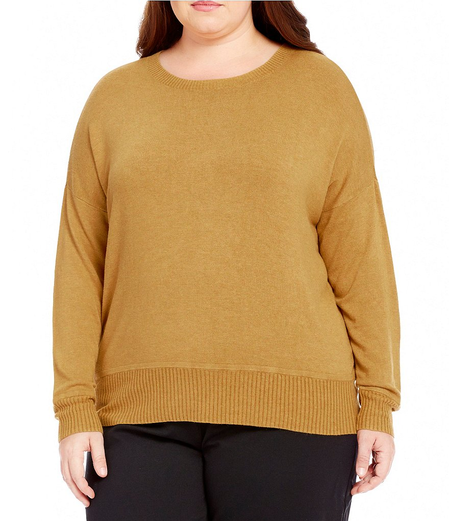 Eileen Fisher Plus Boat Neck Long Sleeve Top