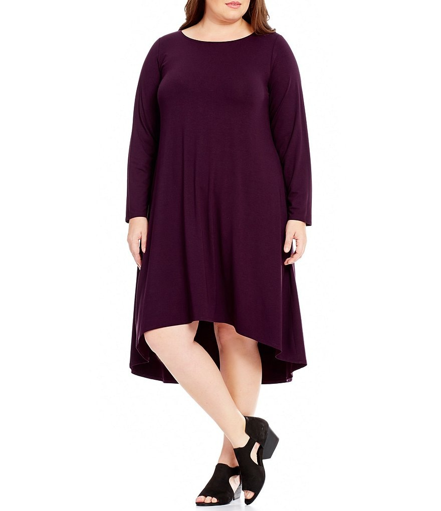 Eileen Fisher Plus Ballet Neck Hi-Low Dress