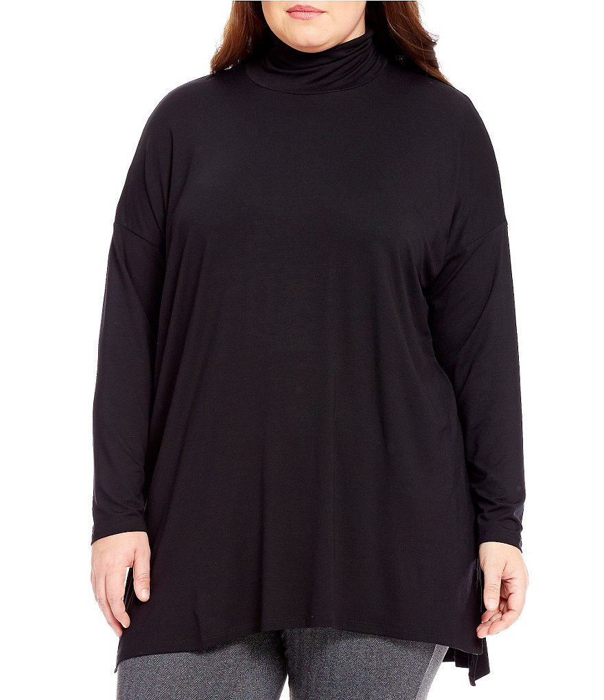 Eileen Fisher Plus Turtleneck Hi-Low Hem Tunic