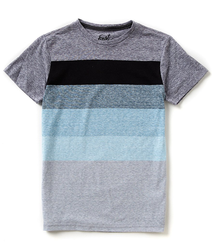 First Wave Big Boys 8-20 Striped Crew Neck Tee