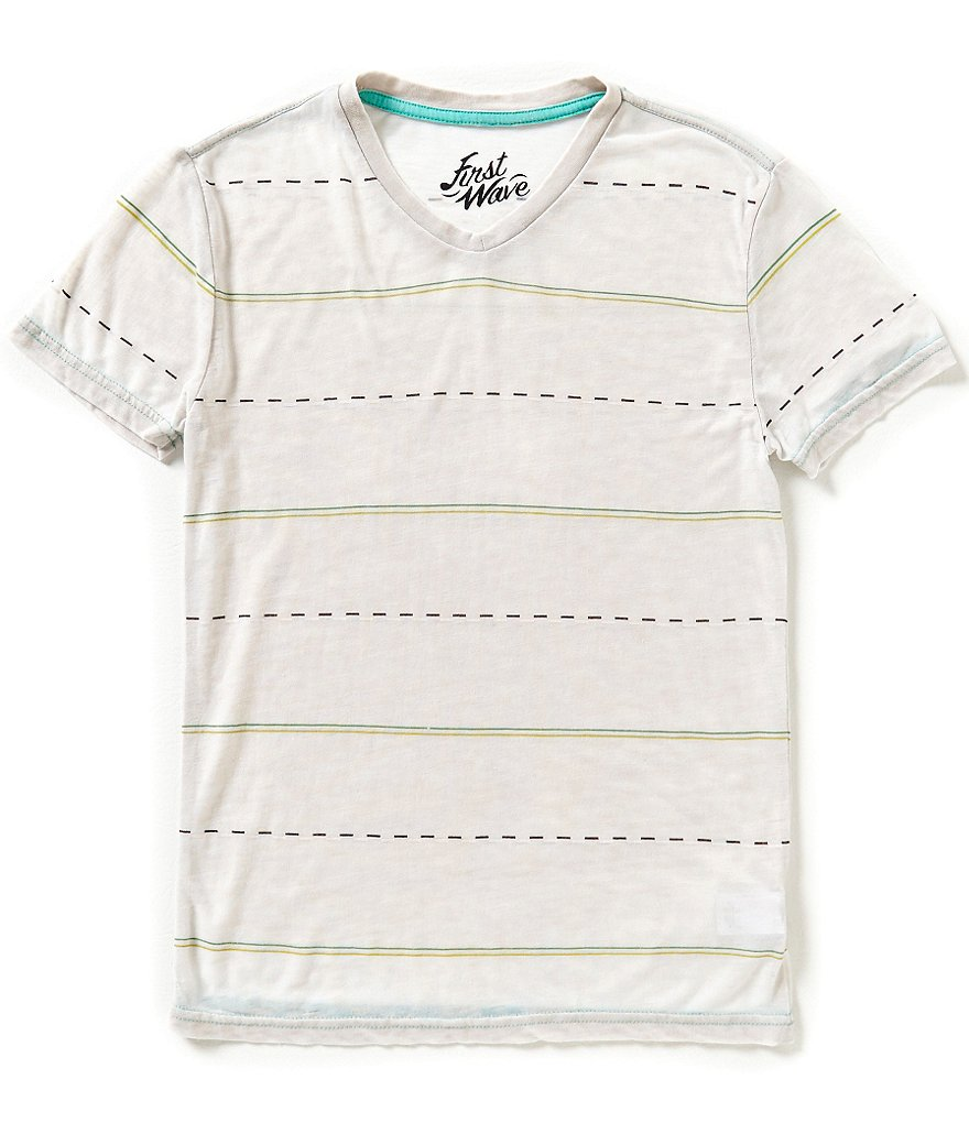 First Wave Big Boys 8-20 Striped V-neck Tee