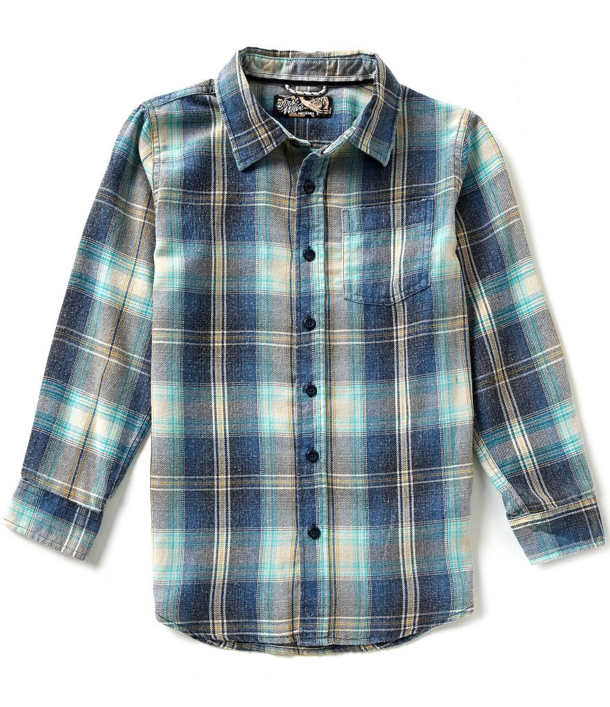 First Wave Big Boys 8-20 Long-Sleeve Plaid Woven Shirt