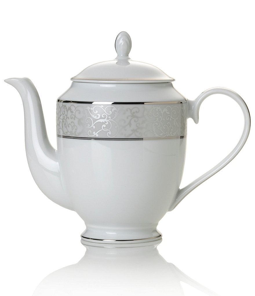 Mikasa Parchment Ivy Scroll Platinum Porcelain Coffeepot