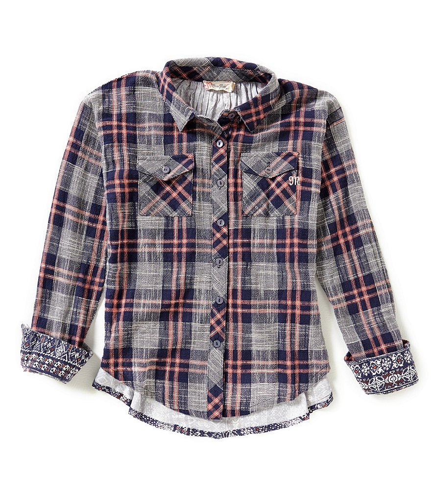 Miss Me Girls Big Girls 7-16 Plaid Button-Down Shirt