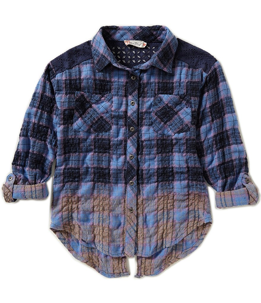 Miss Me Girls Big Girls 7-16 Ombre Plaid Shirt