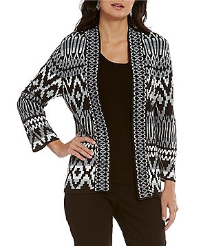 Ruby Rd. Open Front Ikat Stripe Jacquard Cardigan