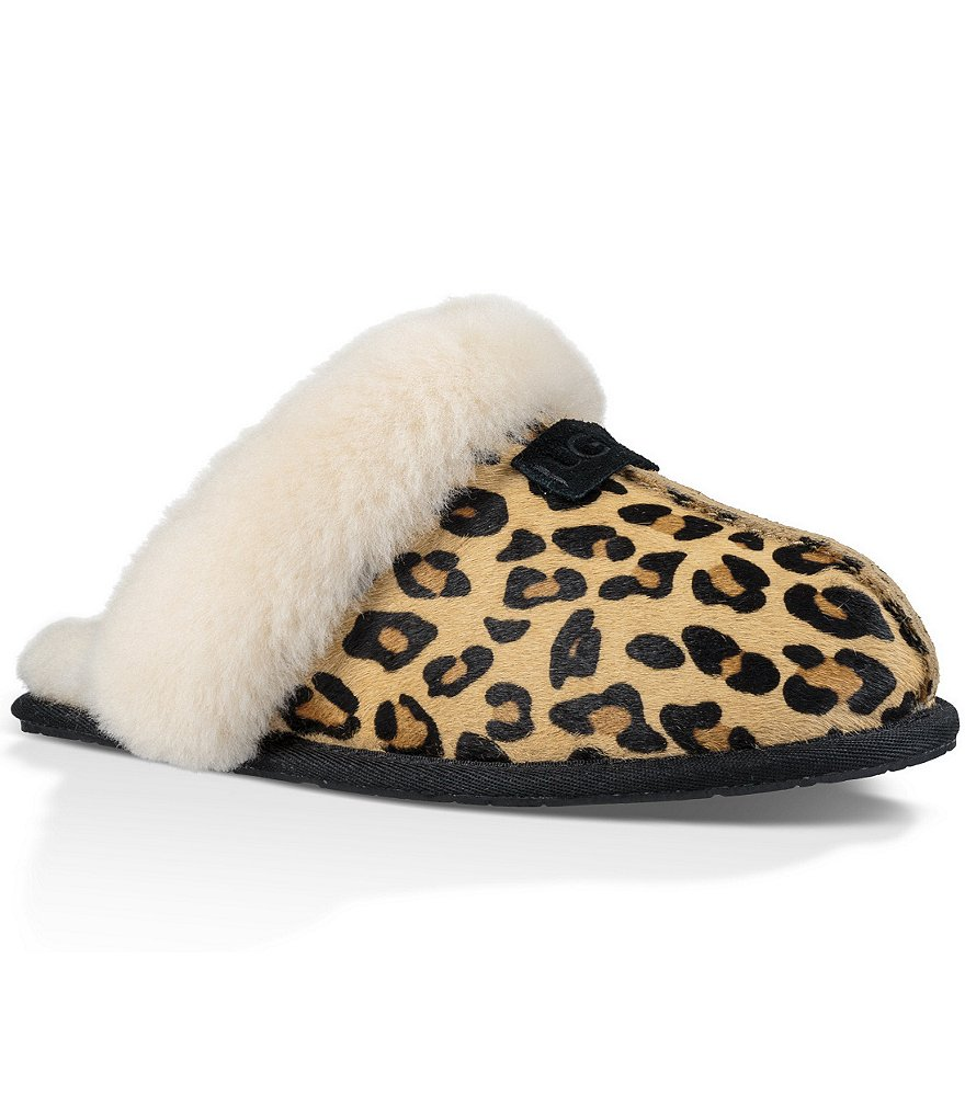 UGG® Scuffette II Leopard Print Sheepskin Collar Calf Hair Slippers