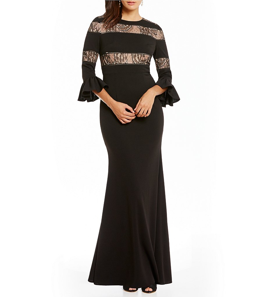 JS Collections Bell Sleeve Illusion Lace Insert Crepe Gown