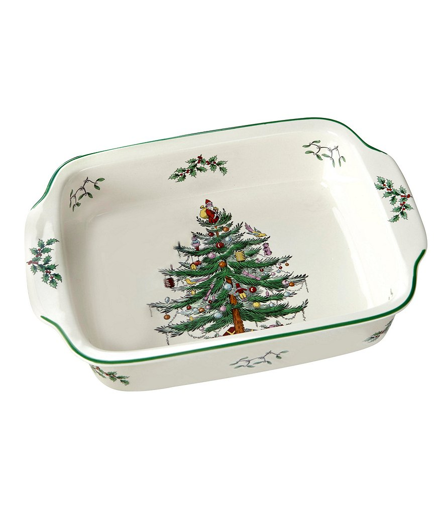 Spode Christmas Tree Handled Rectangle Baking Dish