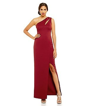 JS Collections One-Shoulder Cut Out Slit Gown