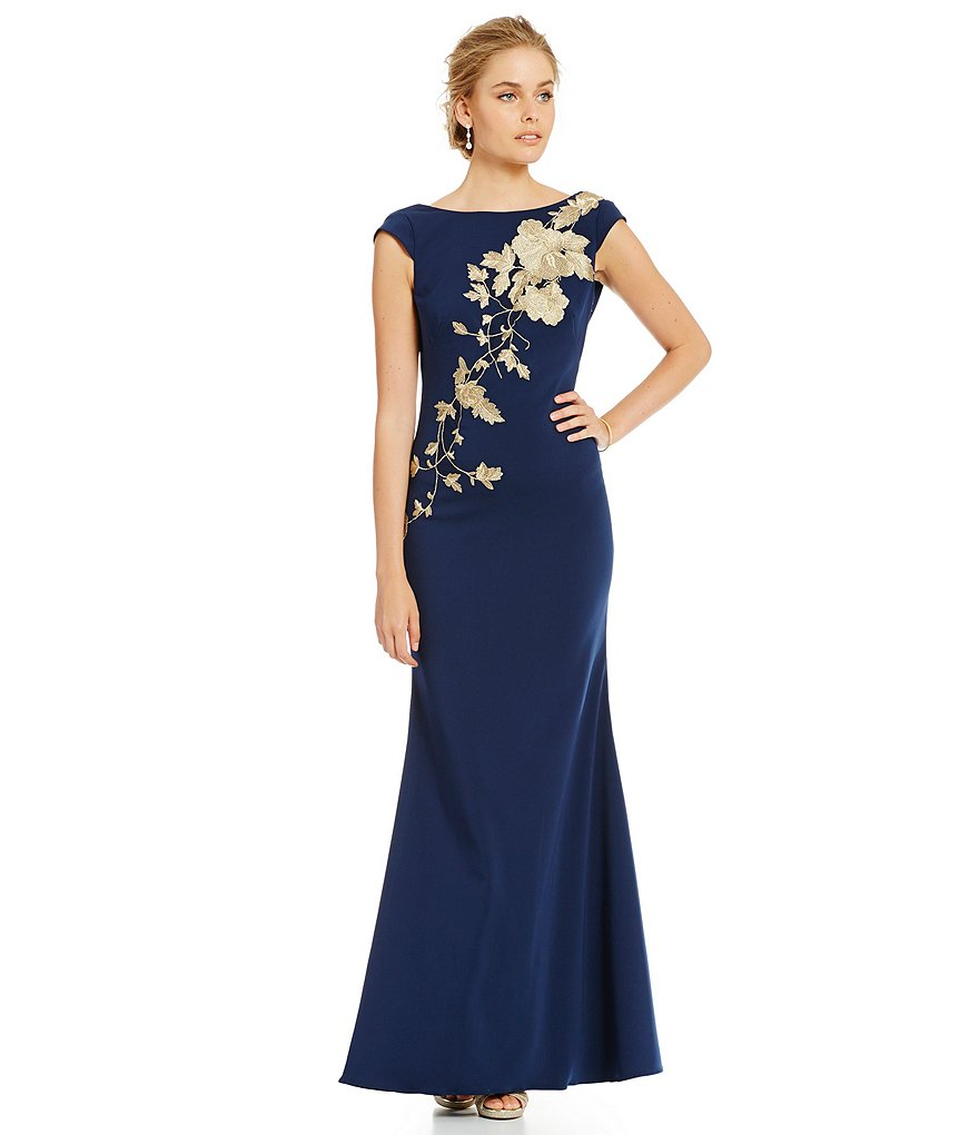 JS Collections Embroidered Cowl Back Crepe Gown