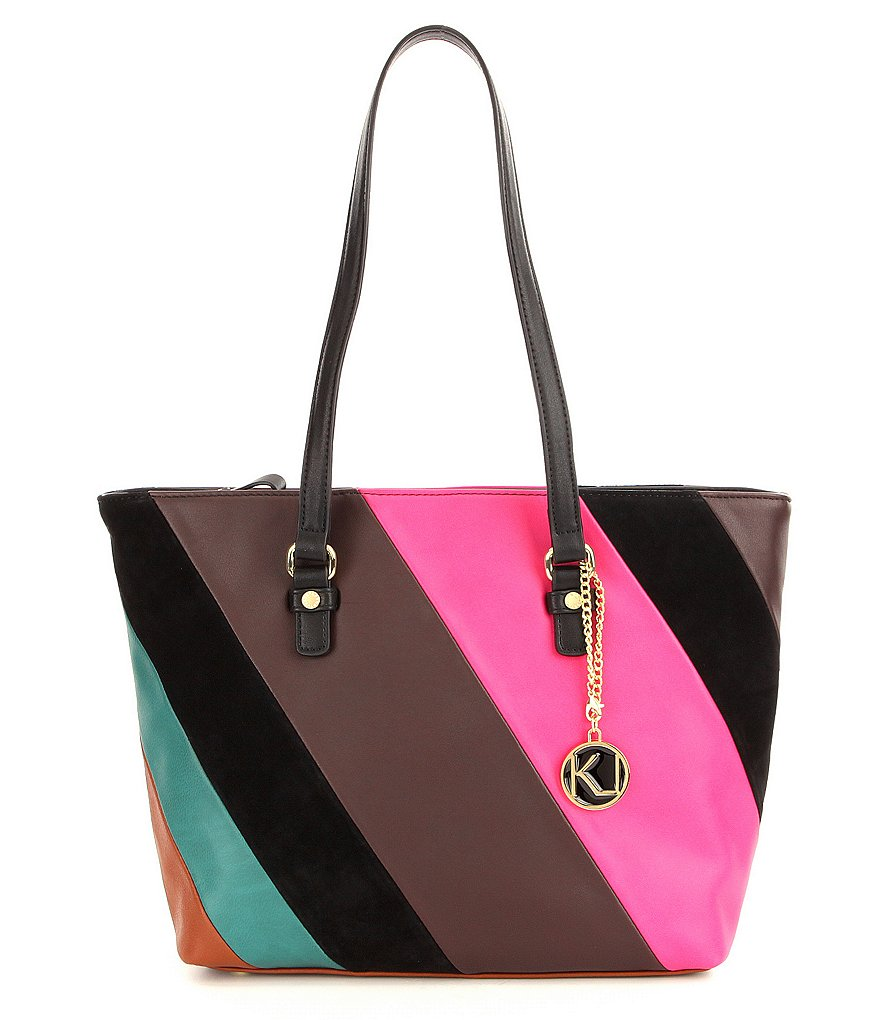Kate Landry Patchwork-Striped Tote