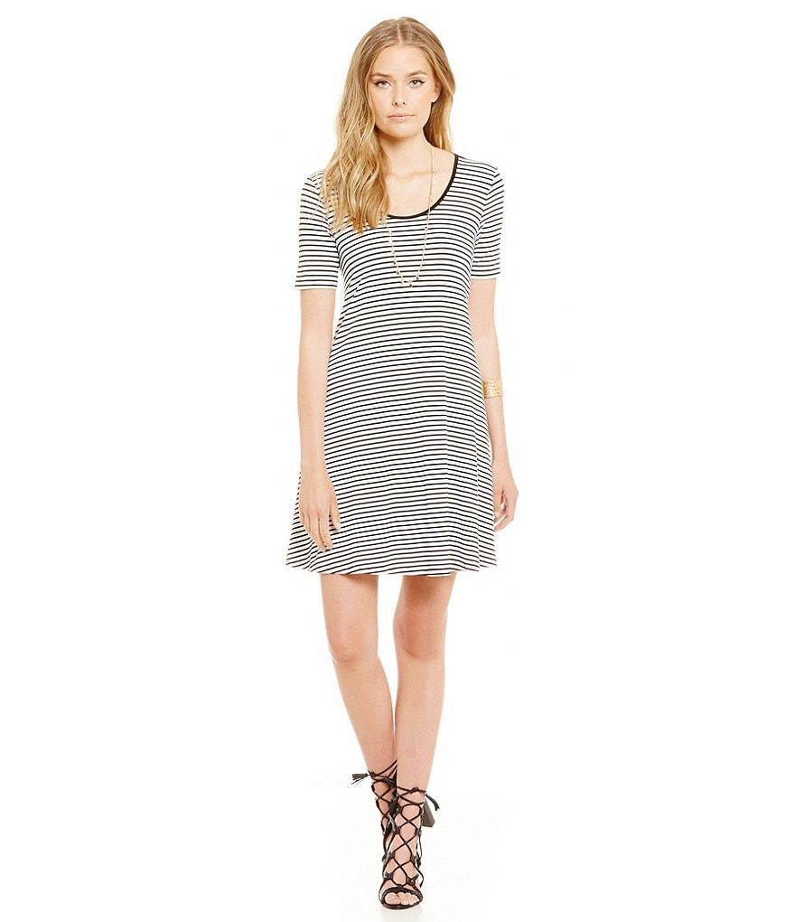 Sugarlips Short Sleeve Stripe Short Sleeve Swing Dress