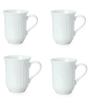 Mikasa Antique White Porcelain Mugs, Set of 4