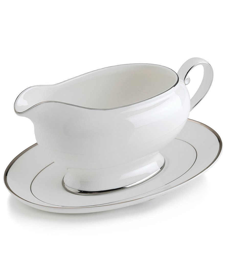 Mikasa Cameo Platinum Porcelain Gravy Boat with Stand