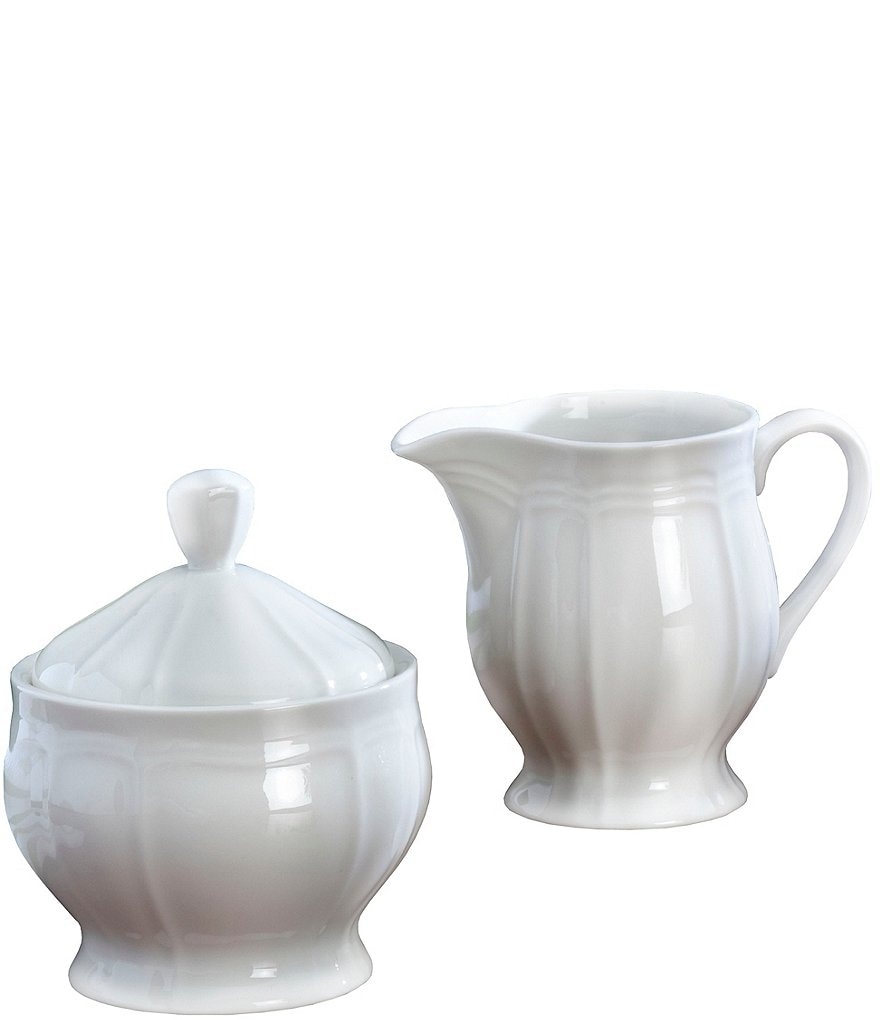 Mikasa Antique White Porcelain Creamer & Sugar Bowl Set