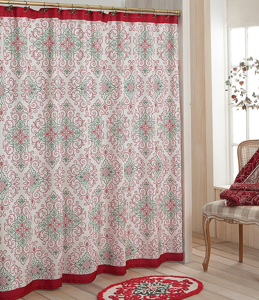 Lenox French Perle Groove Christmas Medallion Shower Curtain