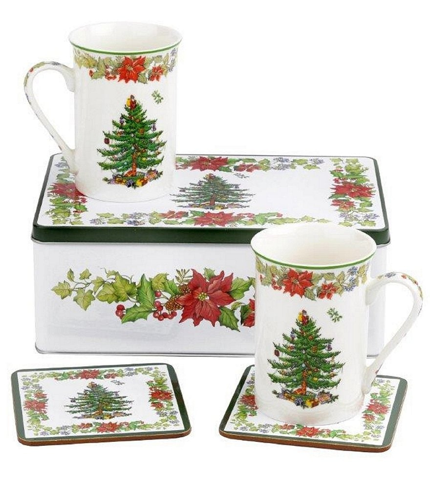 Spode Christmas Tree Poinsettia 5-Piece Mugs & Coasters Gift Set