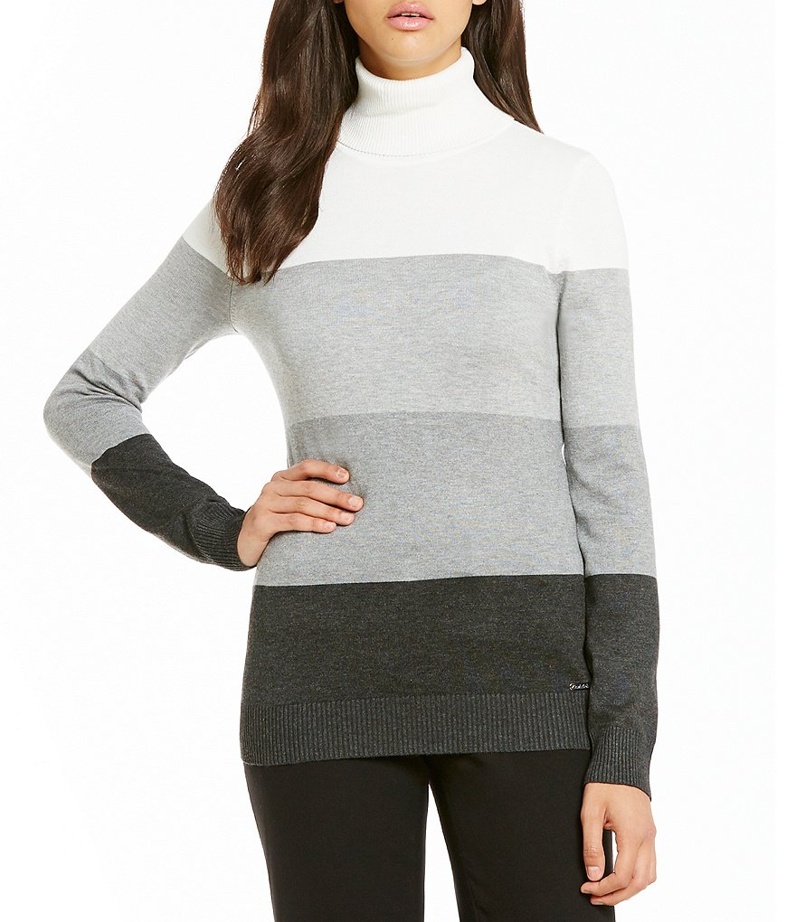 Calvin Klein Ombre Colorblock Fine Gauge Turtleneck Sweater