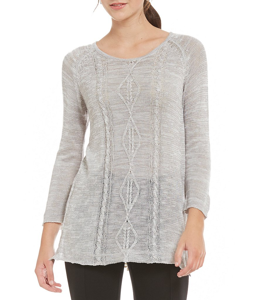 Ali Miles Heathered Knit Sweater with Lace Trim