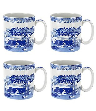 Spode Blue Italian Mugs, Set of 4