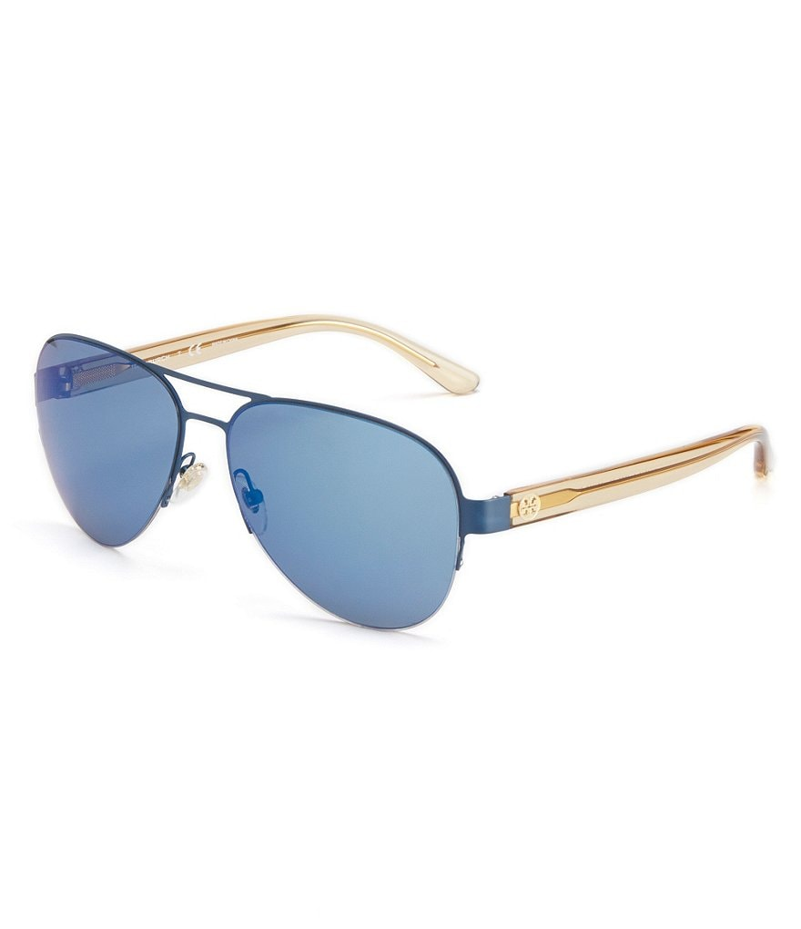 Tory Burch Classic T-Print Mirrored Aviator Sunglasses