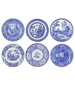 Spode Blue Italian Georgian Scene Plates, Set of 6 Image
