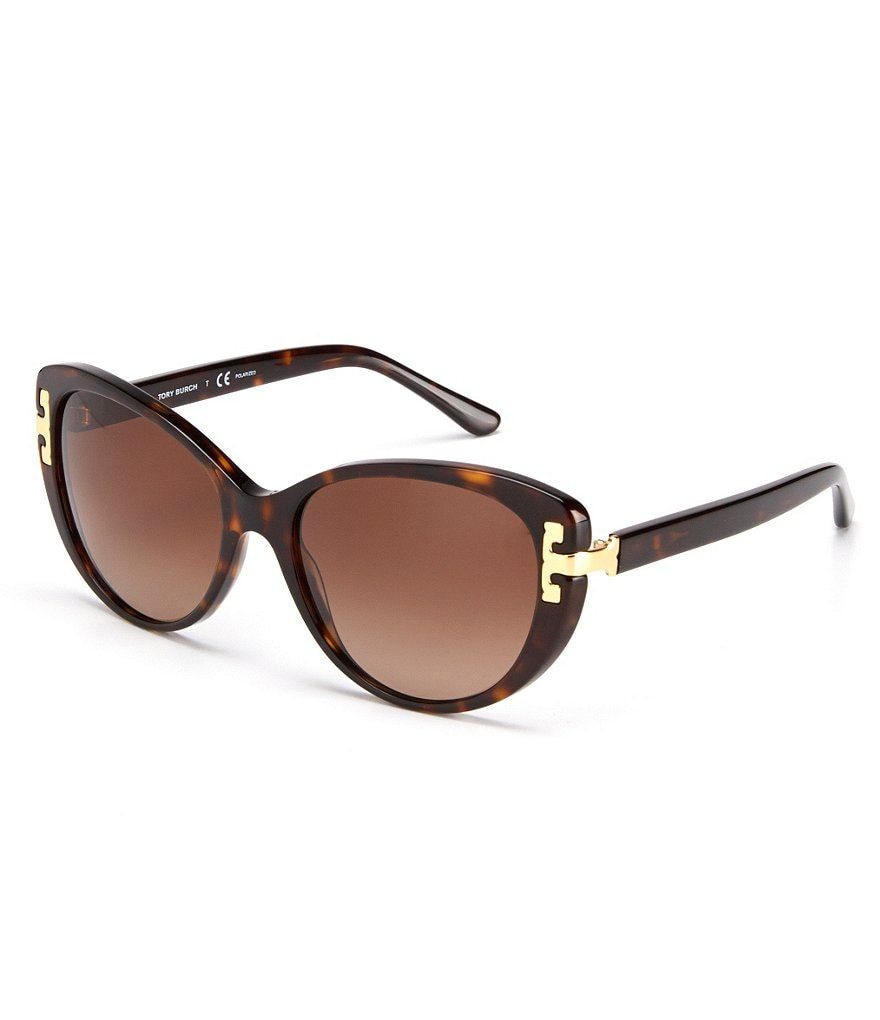 Tory Burch Reva T Polarized Cat-Eye Sunglasses