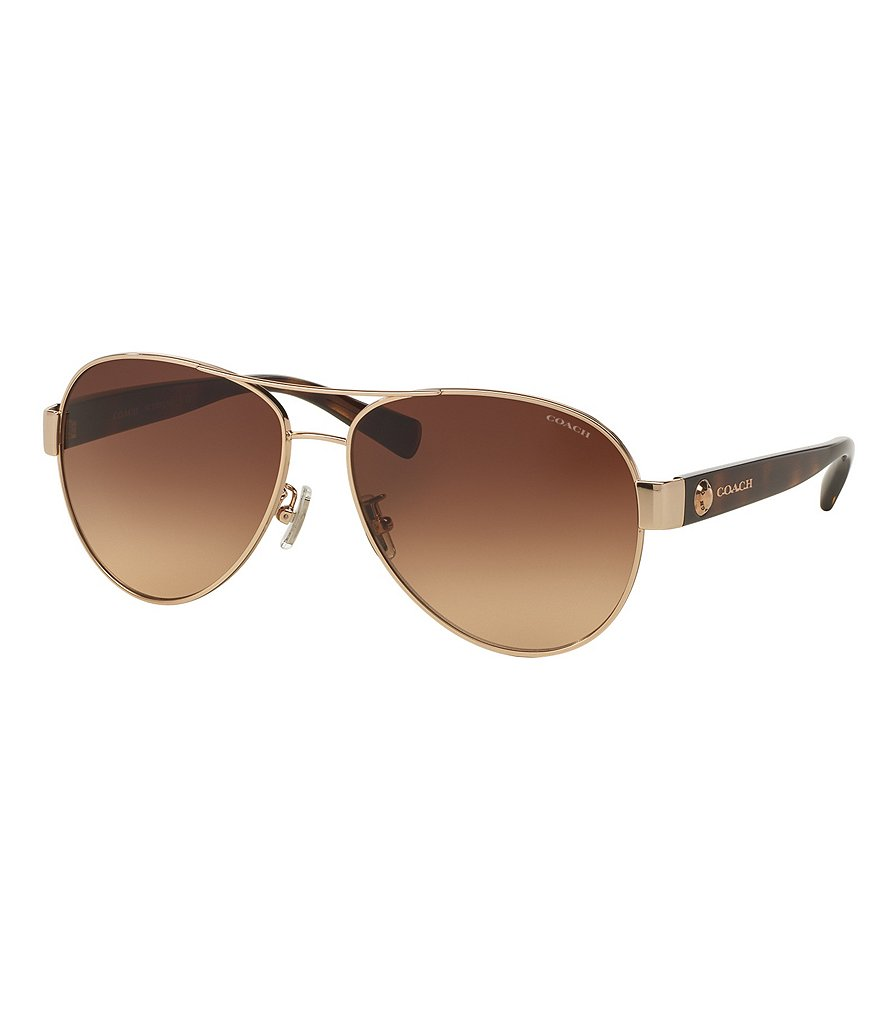 COACH UPTOWN LOGO RIVET GRADIENT AVIATOR SUNGLASSES