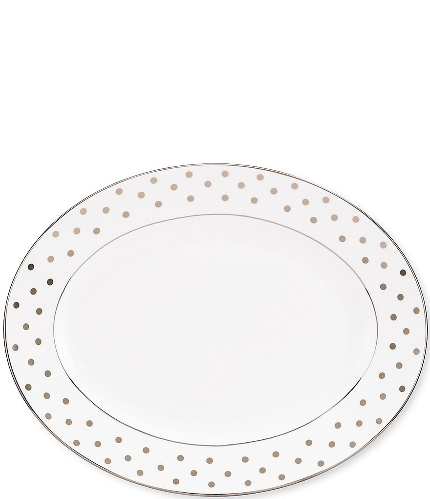 kate spade new york Larabee Road Dotted Platinum Bone China Oval Platter