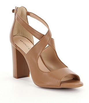 Antonio Melani Maddeye Tailored Leather Block Heel Sandals