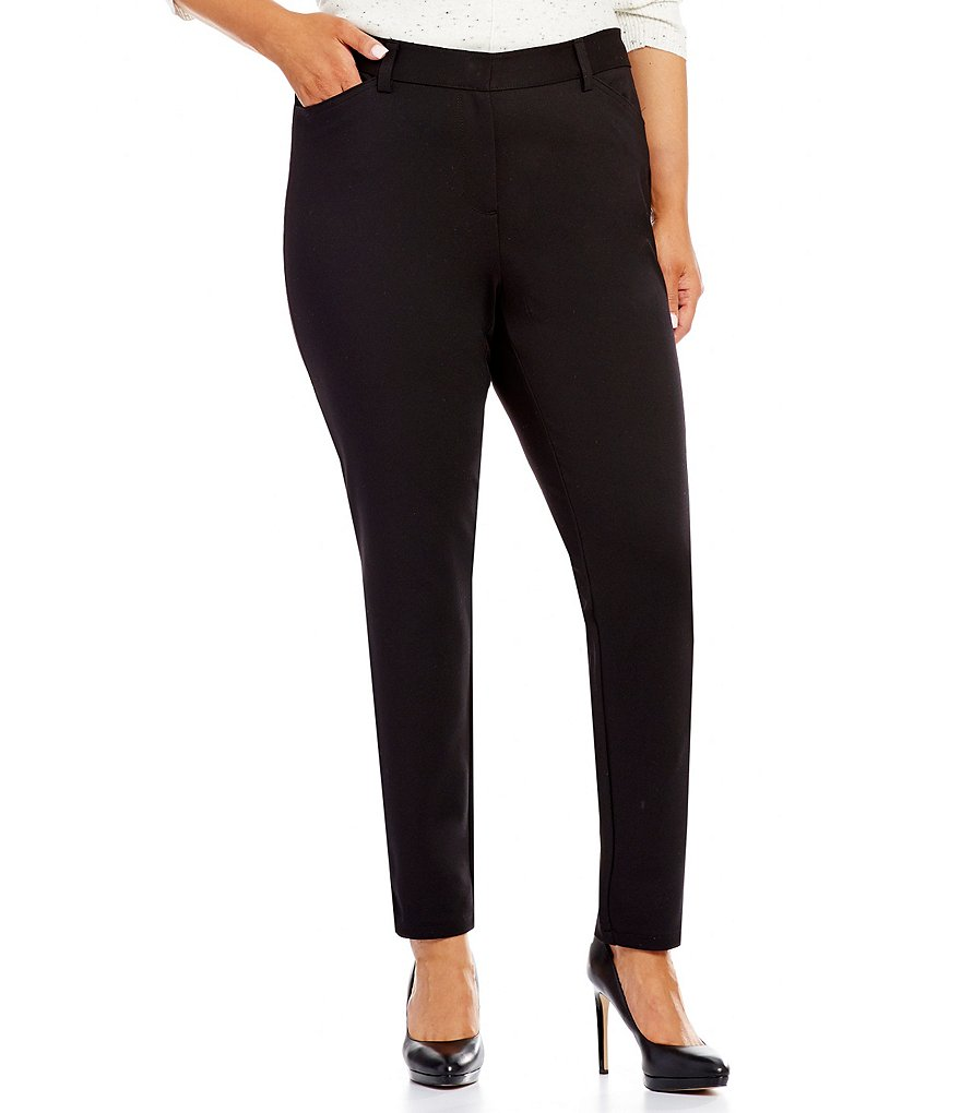 Calvin Klein Plus Ponte Straight Leg Ankle Pants