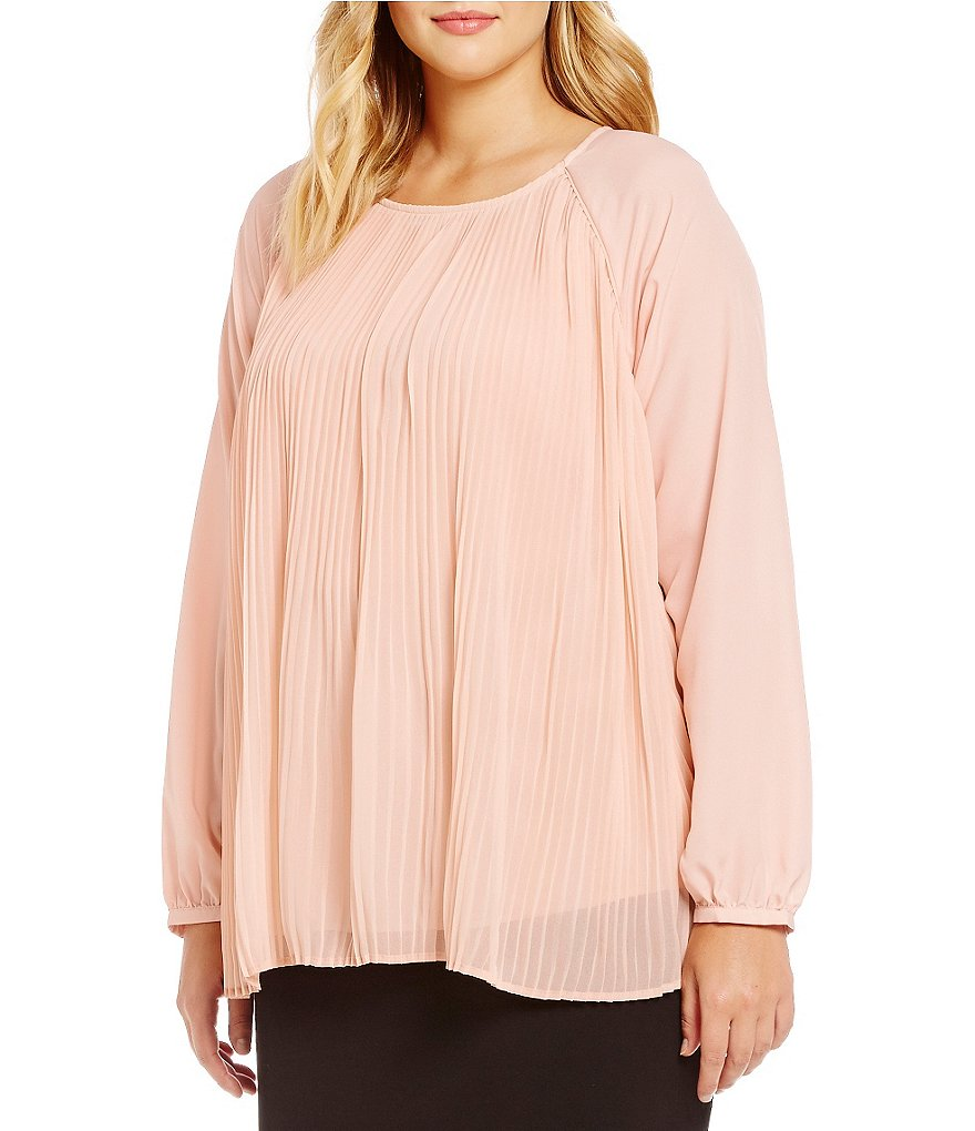 Calvin Klein Plus Pleated Georgette Long Sleeve Blouse