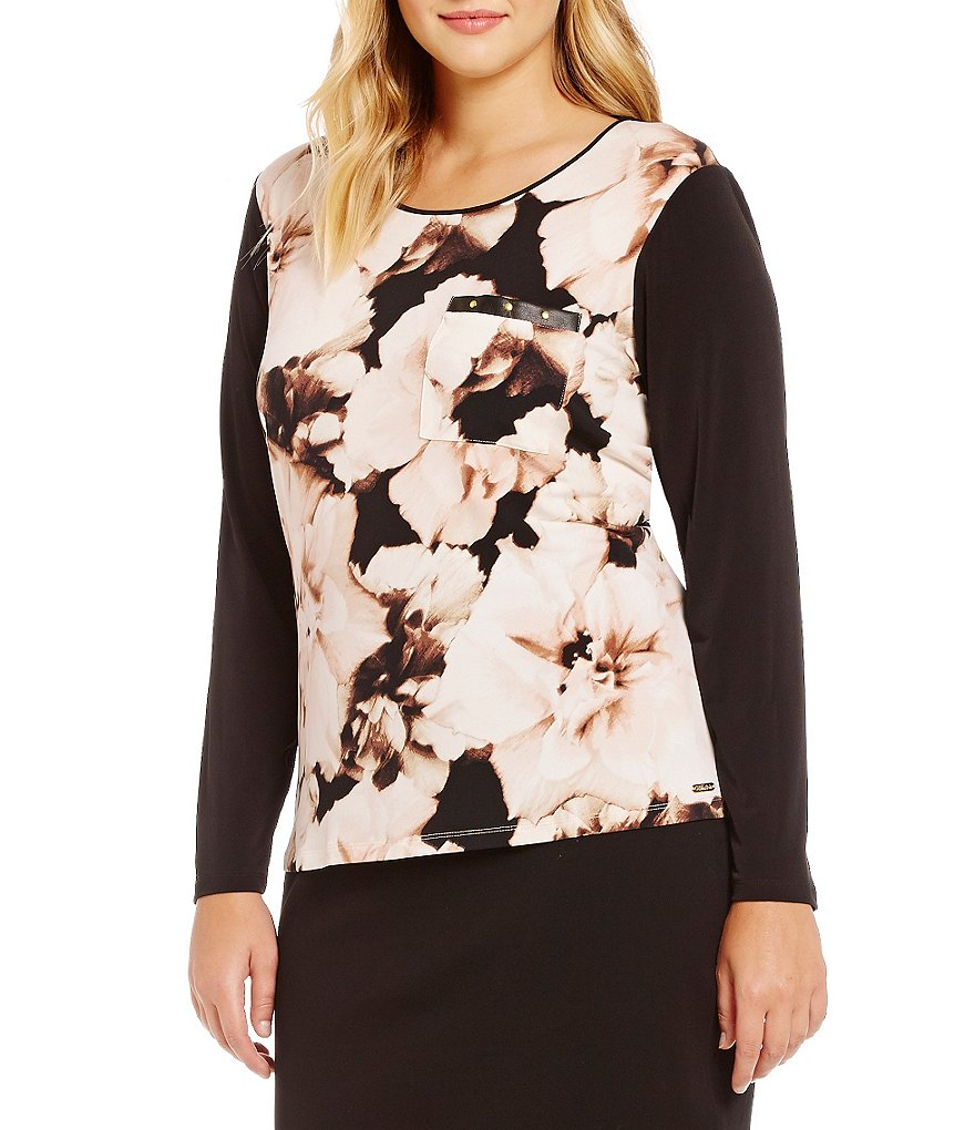 Calvin Klein Floral Print Front With Solid Back Knit Jersey Top