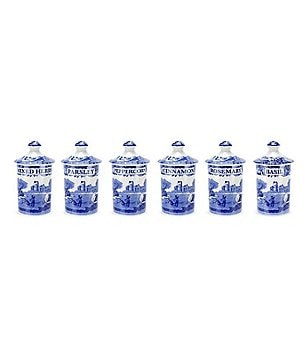 Spode Blue Italian Spice Jars, Set of 6