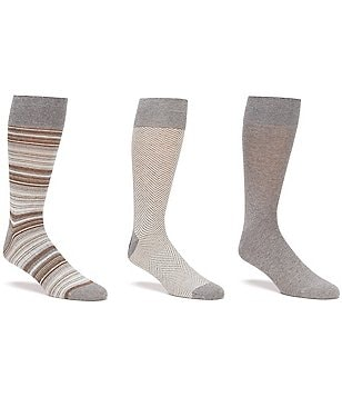 Gold Label Roundtree & Yorke Big & Tall Stripe Combo Crew Dress Socks 3-Pack