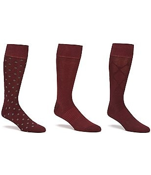 Gold Label Roundtree & Yorke Big & Tall Dot Combo Crew Dress Socks 3-Pack