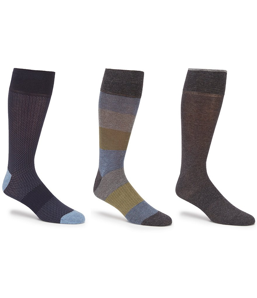 Gold Label Roundtree & Yorke Big & Tall Color Block Combo Crew Dress Socks 3-Pack