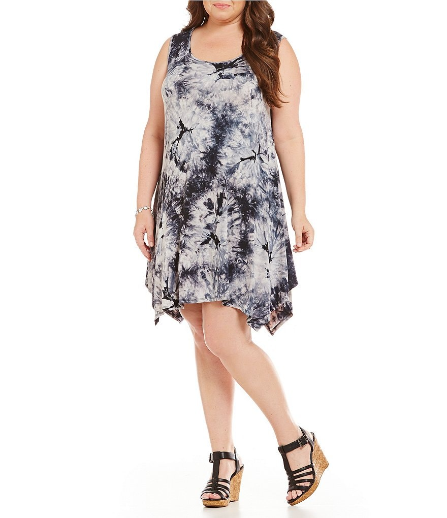 Moa Moa Plus Tie-Dye Sleevless Trapeze Dress