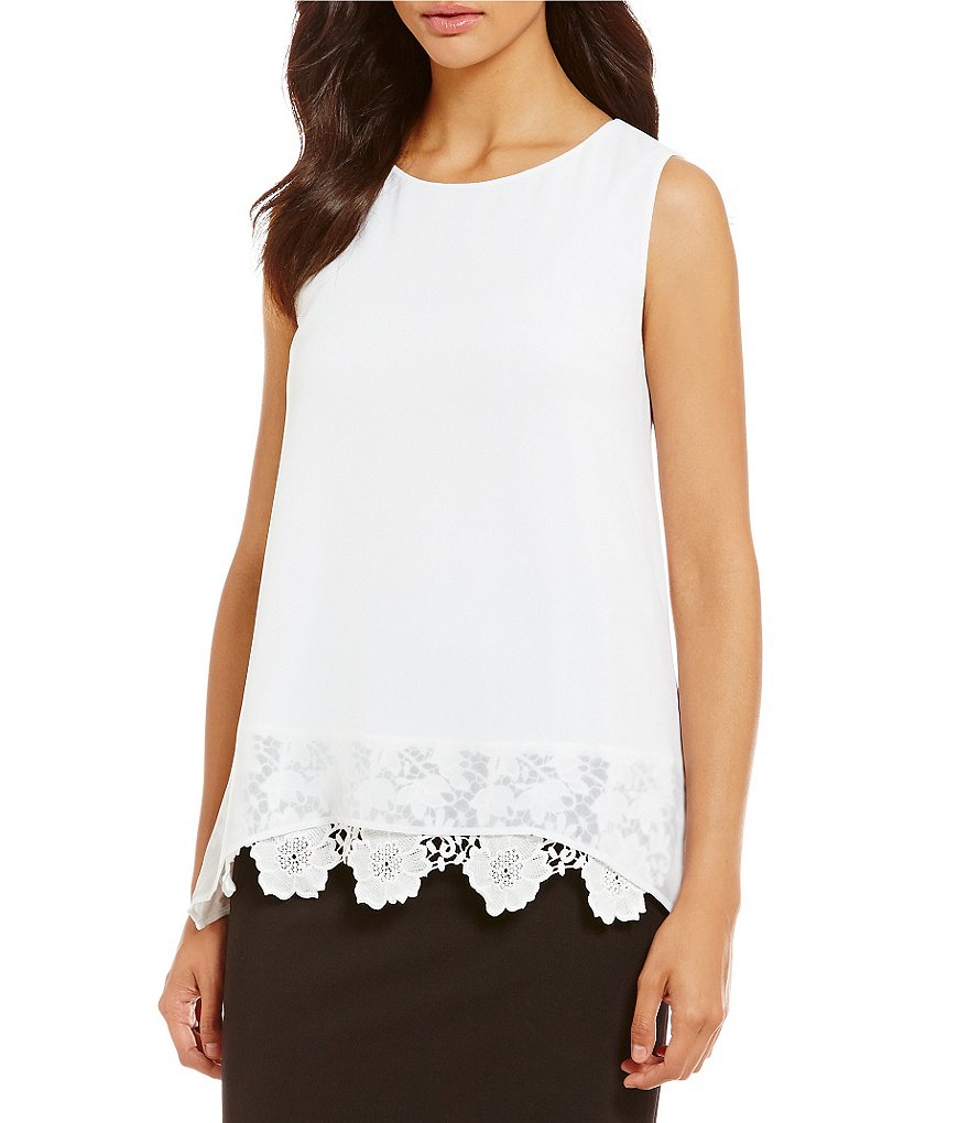 Calvin Klein Lace Hem Sleeveless Top