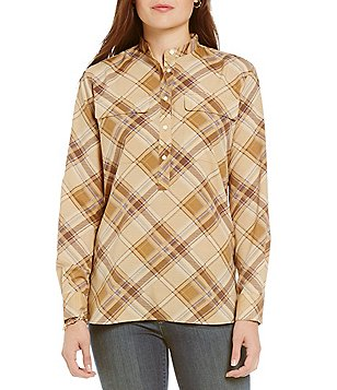 Lauren Ralph Lauren Petites Plaid Crepe Band Collar Tunic